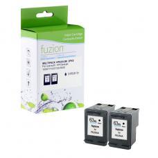 Recyclée HP63 XL, 2 X Noir Fuzion (HD) Avec niveaux d'encre